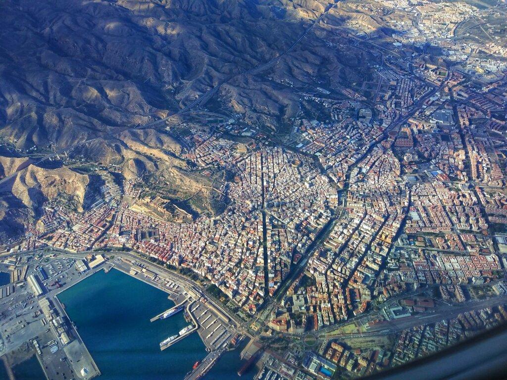 Almería from above #Almería #espagne #aérienne #andalousie #mer #ville #Arenes #high angle view