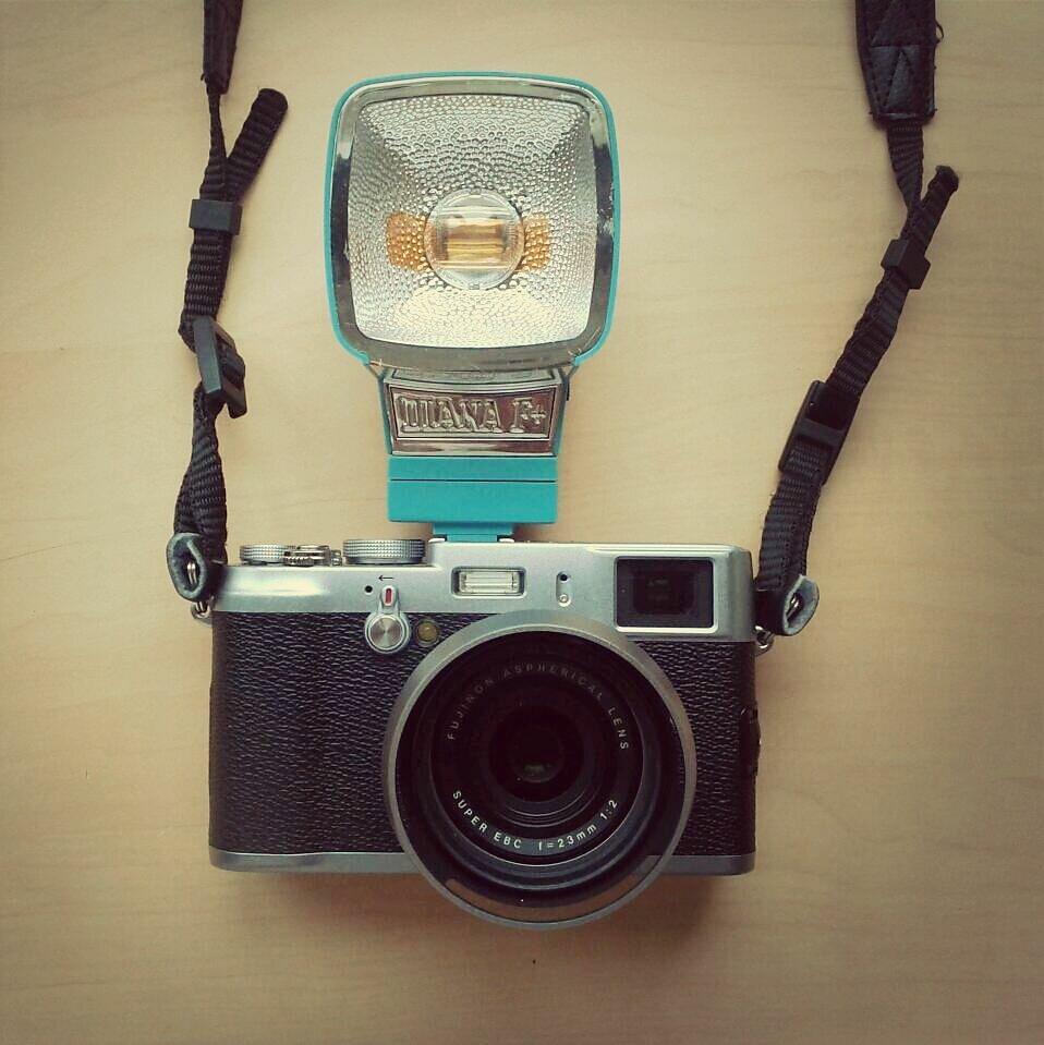 x100 mounted with a diana flash. chic and cheap #camearporn #camera porn #fujifilm #FujiFilm x100