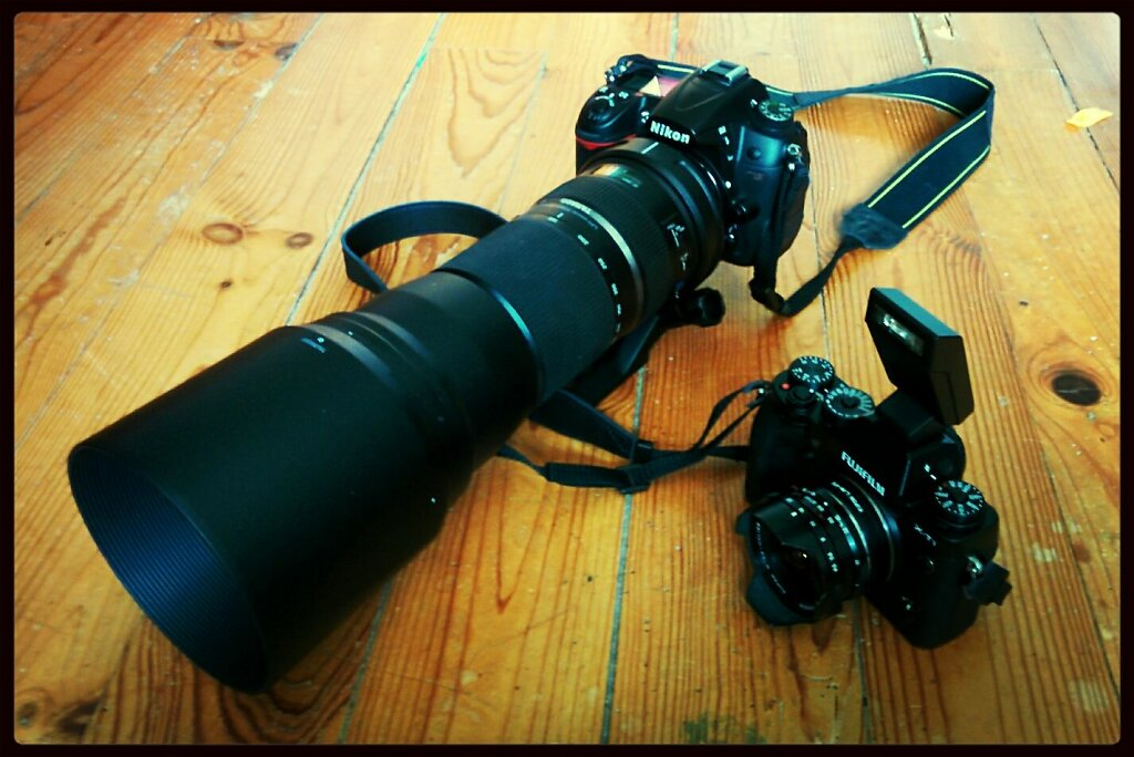 Week end Toys #cameraporn #nikon D7000 with #tamron 150-600mm Vs #fuji X-T1 with #voigtländer 15mm. Superzoom Vs UWA