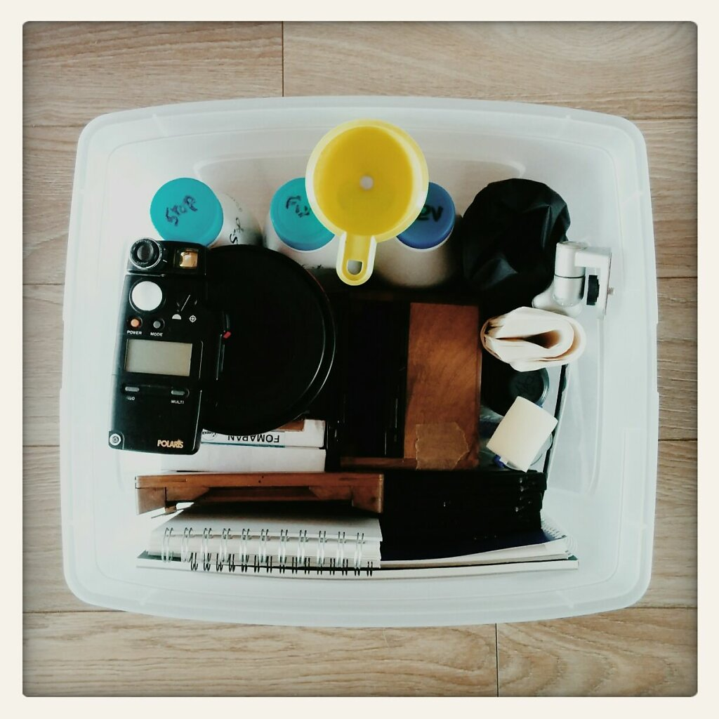 In this box stand everything I need to do #4x5 format  #pinhole, develop them and do #Cyanotype prints. #autonomy